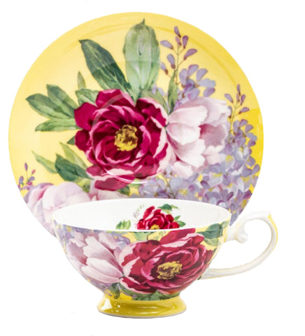 Peony Bloom Butter Bone China Teacup and Saucer