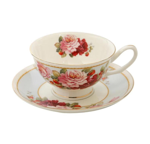 Peony and Strawberry Blue Teacup and Saucer