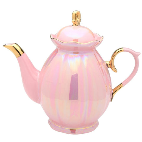 Pink Luster Gold Trimmed Scallop Teapot