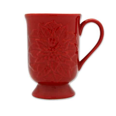 Poinsettia Footed Mug - Red