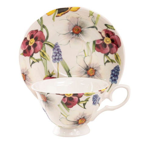 Red Pansy Bone China Teacups and Saucers