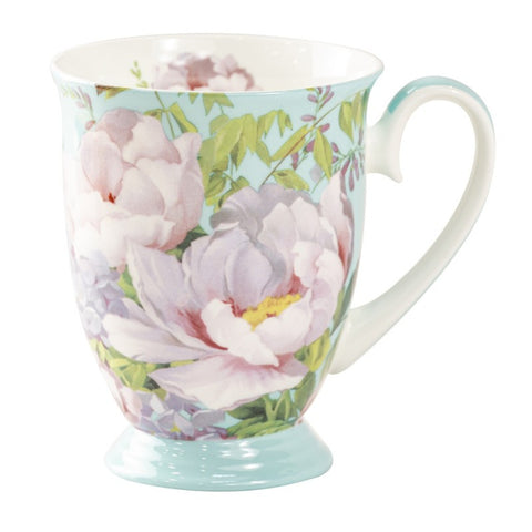 Peony Bloom Blue Footed Mug