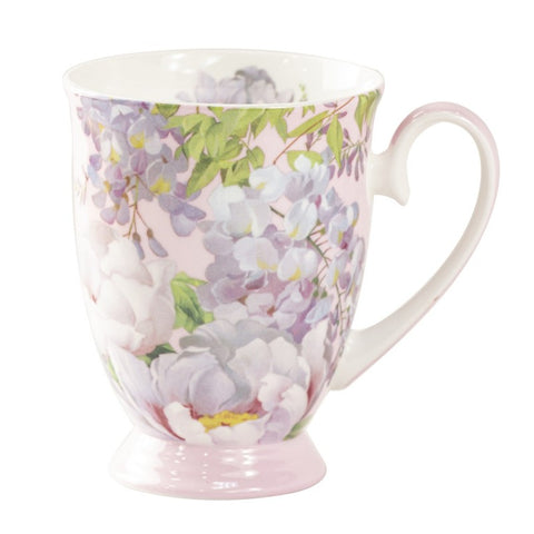 Peony Bloom Pink Footed Mug