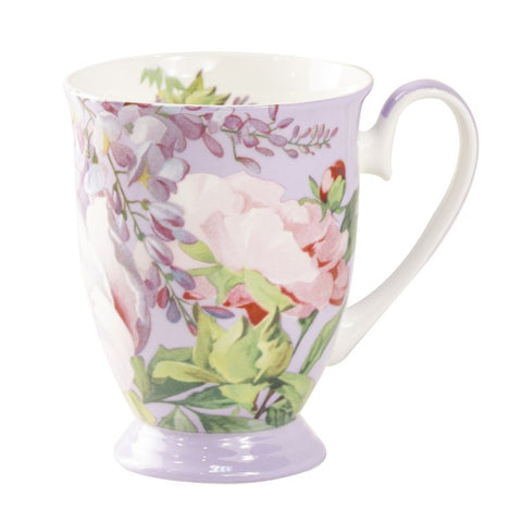Peony Bloom Purple Footed Mug