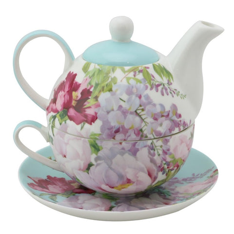 Floral Blue Mist 4 Piece Tea for One
