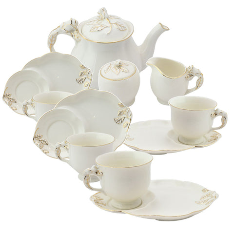 White Gold Rose Bud Teaset
