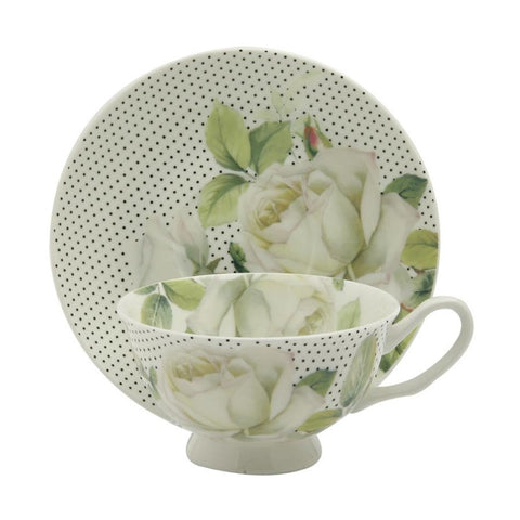 White Rose With Pin Dots Teacup and Saucer