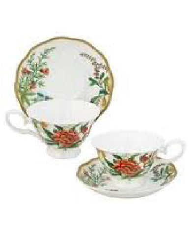 Dianthus Daylily Teacup and Saucer