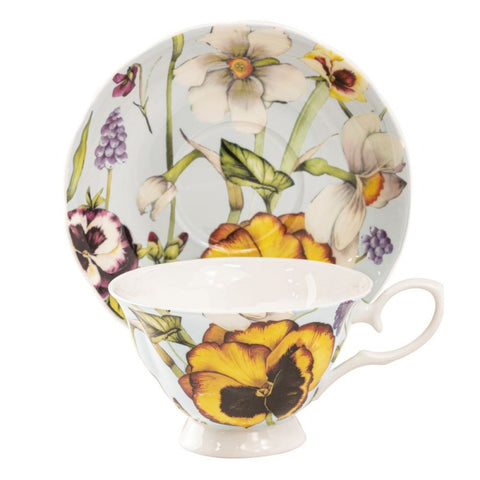 Yellow Pansy Blue Bone China Teacup and Saucer