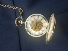 Load image into Gallery viewer, Double hunter silver pocket watch with an open front
