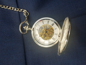 Double hunter silver pocket watch with an open front