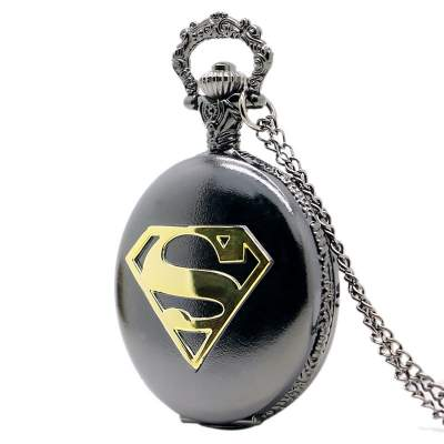 Superman themed black pocket watch