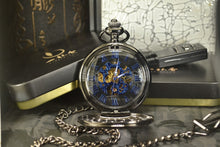Load image into Gallery viewer, open modern pocket watch with blue hands