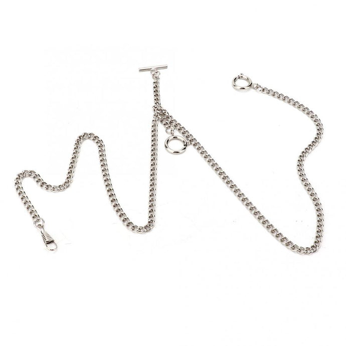 Double albert style silver pocket watch chain