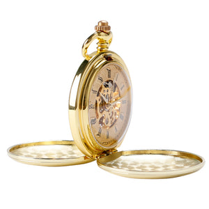 gold pocket watch side view