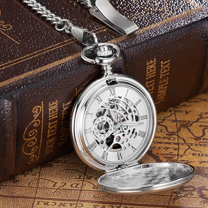 Modern silver pocket watch with an open front