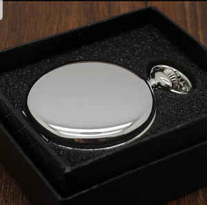 cheap silver pocket watch in a gift box