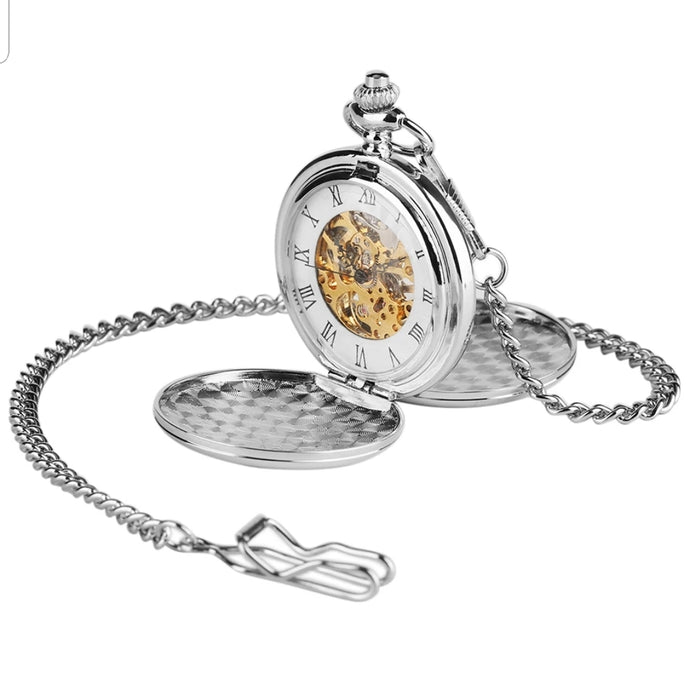 Double Hunter Mechanical Silver Pocket Watch