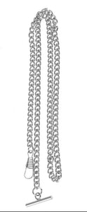 T bar style silver pocket watch chain