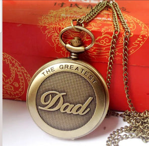 greatest dad gold pocket watch front