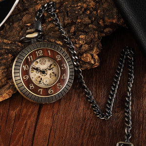 Modern pocket watch with wooden front and T Bar chain