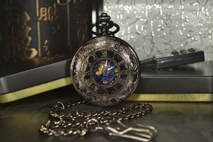 Modern pocket watch with blue hands