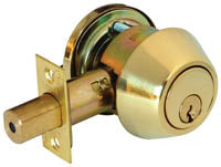 LSDA G2 SINGLE CYLINDER DEADBOLT SC4 KWY ADJ BOLT B/BRS	063536