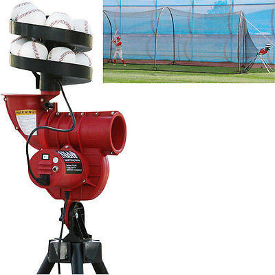 Slider Lite Pitching Machine & 24X12X12 Batting Cage With 12 Balls & Feeder