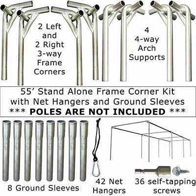55x14x12 Stand Alone Frame Corner Kit with Net Hangers and Ground Sleeves