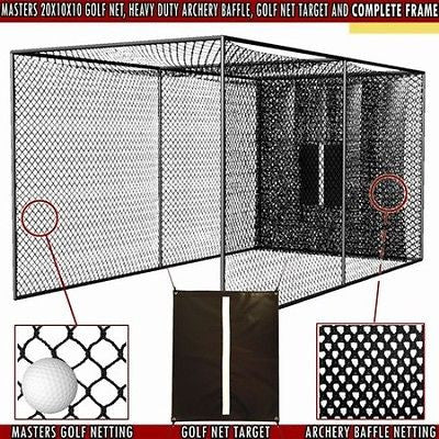 20x10x10 Masters Golf Net with Complete Frame Kit & Poles Golf Practice cage