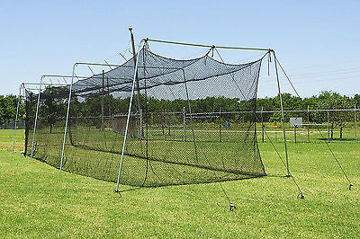 60x12x10 Baseball Batting Cage Net Poly HDPE w/ Door Opening / Free BackStop