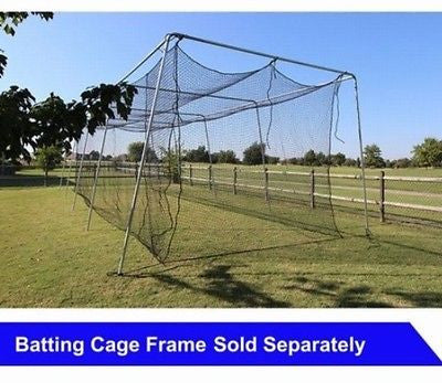 40x12x10 Baseball Batting Cage Net #24 (42Ply) HDPE w/ Door Free Back Stop