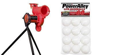 PowerAlley Lite Baseball Machine With 12 Balls Practice Fastballs Grounders Pops