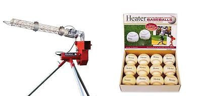 Heater Real Baseball Pitching Machine with Ball Feeder & 12 Leather Balls