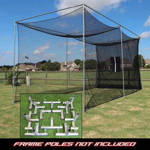 20' Deep Large Practice Golf Net with Heavy Duty Black Baffle + Frame Corner Kit