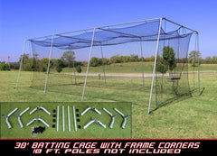 Batting Cage Net And Frame Kit 30x12x10 Baseball Softball Hitting Tunnel