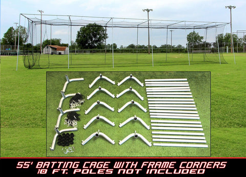 55x14x12 #24 Batting Cage Net and Frame Corners
