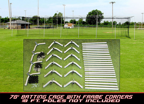 70x12x12 #24 Batting Cage Net and Frame Corners