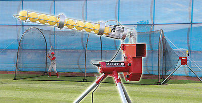 Baseball Pitching Machine & Complete Backyard Batting Cage With Auto Feeder