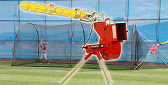 Heater Combo Pitching Machine & 24' x 12' x 12' Home Batting Cage With Feeder