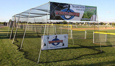 Batting Cage Frame Kit & 40' Knotted Nylon Net With L Screen Baseball Softball