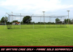 Baseball Batting Cage Net 55x12x12 #24 Twisted Poly HDPE w/ Door Opening