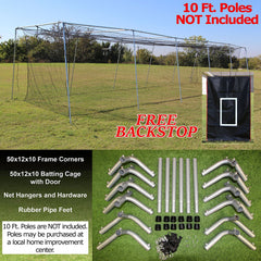 Batting Cage Net And Frame Kit 50x12x10 Baseball Softball Hitting Tunnel
