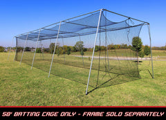 Baseball Batting Cage Net 50x12x10 #24 Twisted Poly HDPE w/ Door Opening