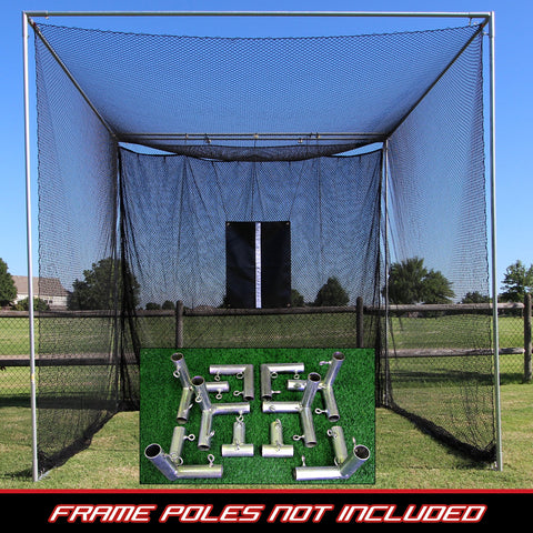 10' Deep Large Practice Golf Net with Heavy Duty Black Baffle + Frame Corner Kit