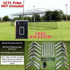 Batting Cage Net And Frame Kit 60x12x10 Baseball Softball Hitting Tunnel