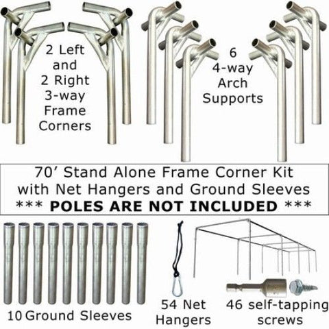 70x14x12 Stand Alone Frame Corner Kit with Net Hangers and Ground Sleeves