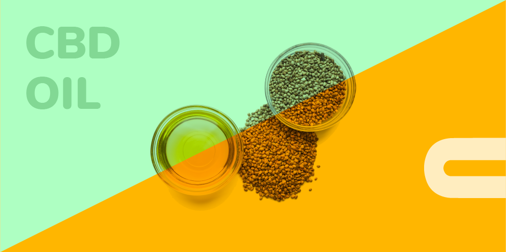 CBD Oil and hemp seeds on orange and aqua green background with the text: CBD Oil