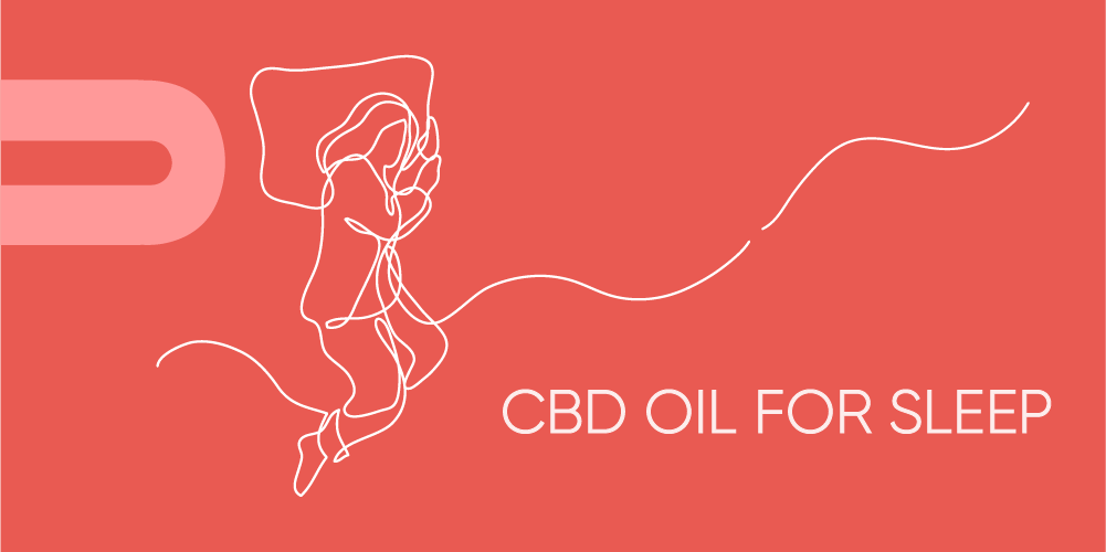One-line drawing of woman sleeping with head on pillow, on red background with text: CBD Oil For Sleep