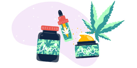 drawing of CBD products including CBD oil, CBD capsules, CBD cream